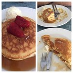 Pancakes : before and after ! So good but couldn't finish them
