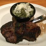 Filet mignon with creamed spinach.