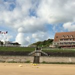 Looking up at the hotel from Omaha Beach