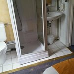 terrible room - bathroom amenties cramped along the bed