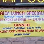 84 Thai is closed Sundays; no lunch Saturdays