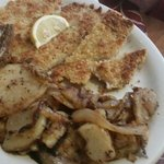 Weinersnitzel with potatoes and rye bread with butter. Delicious!