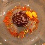 Dessert: Melo with mandarine, meringue and speculos
