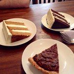 average carrot cake and chocolate caramel cakes! Pecan pie was good though!