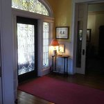 Entryway with cut leaded glass.