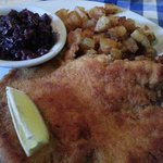 Schnitzel with potatoes and red cabbage