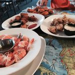 Steam shrimp, fried conch, fried gator, buffalo style frog legs
