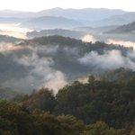 Early morning smokey mountains