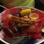 steamed seafood platter with corn and potato.  delicious