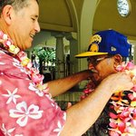 Pono welcoming us with a freshly made Plumeria Leis!