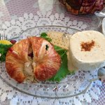 Chicken salad on croissant with cream of crab soup