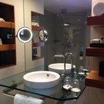 Bathroom, Waterfall shower, underfloor heating, deep spa bath, Lanvin products