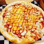 Delicious chicken BBQ pizza!!