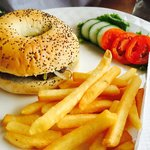 Beef burger with fried onions and French fries