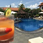 pool with welcome drink