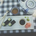 Lovely sushi and green tea