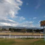 Looking across  US 89, over the rodeo grounds towards the 11,000' mountain range (with Horseshoe
