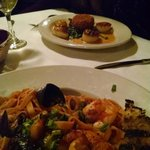 Seafood Pasta and Scallops w/ lobster cake (mains).
