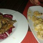 ANTIPASTO: patate alla birra con bacon e tortino di funghi