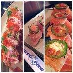 Upside Down Shrimp, Salmon and Albacore