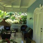 Blue cottage terrace