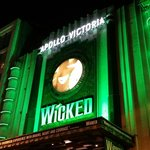 Wicked theatre exterior at night