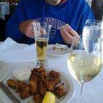 Yummy oysters, vino & brewsky.