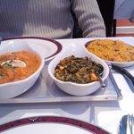 Dansak veg, sag paneer, and mushroom rice