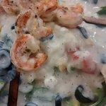 pasta Alfredo com camarão