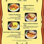 Gluten Free Chicken Schnitzel menu