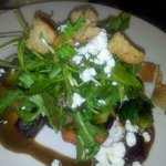 Warmed beet & brussels sprouts salad w/goat cheese & balsamic vinaigrette dressing