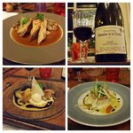 Final Dinner at the restaurant. Clockwise from top left: Guinea fowl in sparkling wine sauce, 20