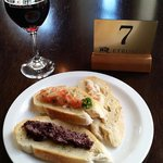 Bruschetta with a glass of Rocca Delle Macie Chianti Classico - $19.50 for both