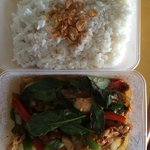 Wok Cashew Basil Chicken c Coconut Rice $20