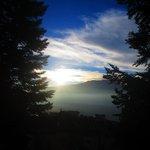 Vue au levée du soleil sur la terasse