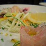 Tartare di spigola, dressing al caco, ostrica e carpaccio di tonno al pistacchio... Chef Fabio F