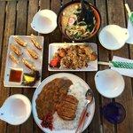 Udon, Chicken katsu curry, Gyoza, Takoyaki