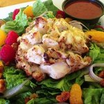 Raspberry Walnut Salad topped with our Crab Cake!