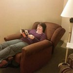 My wife trying out the suite recliner