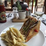 Club Sandwich with under cooked and cumin flavoured chips