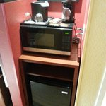 Coffee machine, Microwave and fridge
