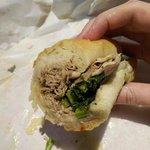Pork sandwich with greens