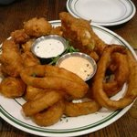 Sampler Appetizer with Fried Onion Rings, Pickle Spears, and Cheese