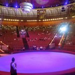 Inside the circus waiting for the show to start