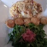 brown sugar scallops with chorizo Parmesan risotto and arugala with red onion