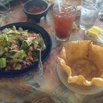 Look at MY taco salad!  It was DELICIOUS. All the goodies mixed in!  Add the crumbled shell.  YU