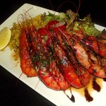 Grilled Local Fresh Prawns, Chilli, Garlic, Parsley Butter & Spiced Israel Couscous