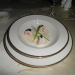 Steamed Prawns and grilled leek with Champagne Valoute