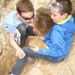 Kids collect barite crystals, Safari trip, August 2014