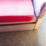Stained sofa bed, ill fitting and not able to close. This was upon arrival and still the same wh